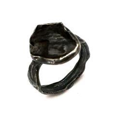 meteoryt,srebrny,szary,czerń,unisex,srebro,oksyda - Pierścionki - Biżuteria