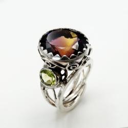 koktajlowy pierścionek z ametrynem - Pierścionki - Biżuteria