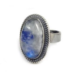 księżycowy,blask,srebrny,szarości,błękitny,retro - Pierścionki - Biżuteria