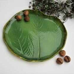 urban jungle,patera,ceramika,zielona,talerz,liść - Ceramika i szkło - Wyposażenie wnętrz