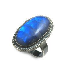 kamień księżycowy,srebrny,szary,srebro,moon,blask - Pierścionki - Biżuteria