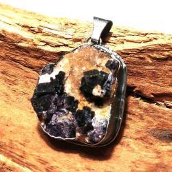 fluoryt,srebrny,szary,blask,róż,fiolet,kryształy, - Wisiory - Biżuteria