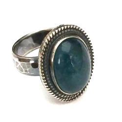 akwamaryn,srebrny,błękit,retro,woda,aqua - Pierścionki - Biżuteria