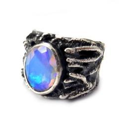 opal,blue,niebieski,srebrny,królewski,srebro - Pierścionki - Biżuteria