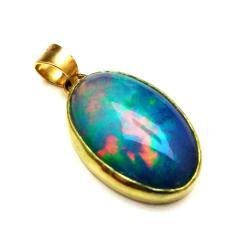 opal,zloty,złoto,blask,tęczowy,rainbow,wisiorek, - Wisiory - Biżuteria
