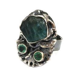 apatyt,szmaragd,srebrny,szarości,zieleń,minerały - Pierścionki - Biżuteria