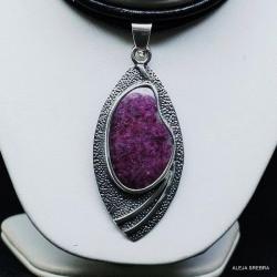 wisiorek z rubinem,srebro,biżuteria,rubin - Wisiory - Biżuteria
