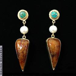 długie,oryginalne,efektowne,letnie,turkus,perła - Kolczyki - Biżuteria