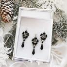 Komplety kolczyki z zawieszka kryształki czarno srebrne