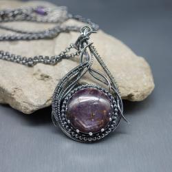 rubin gwiaździsty,duży,wisior,wire wrapping - Naszyjniki - Biżuteria