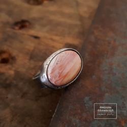 srebro,owalny,duży,skamieniała palma, - Pierścionki - Biżuteria