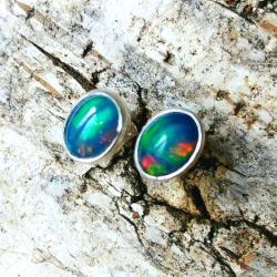 opal,srebrne,baśniowy,retro,teczowe,srebro,zieleń - Kolczyki - Biżuteria