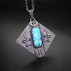 srebrny,wisior,z niebieskim bursztynem - Naszyjniki - Biżuteria
