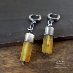 bursztyn,surowe,oksydowane - Kolczyki - Biżuteria