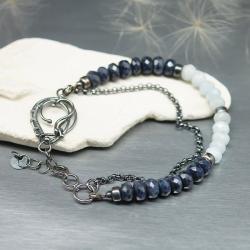 szafir,akwamaryn,bransoletka,wire wrapping - Bransoletki - Biżuteria
