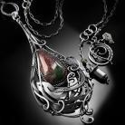 Naszyjniki srebrny,naszyjnik,wire-wrapping,agat,krwisty,ciba