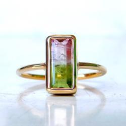 pierścionek,turmalin,złoto, - Pierścionki - Biżuteria