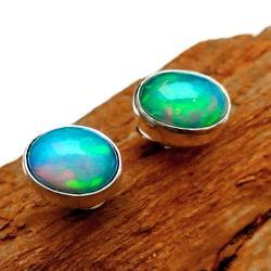 opale,srebrne,blask,tęcza,opal,szlachetne,srebro - Kolczyki - Biżuteria