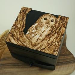sowa,pirografia,wypalanie - Pudełka - Wyposażenie wnętrz