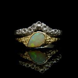 złoto,opal,pierścień,zaręczynowy - Pierścionki - Biżuteria