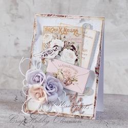 ptaszek,list,kwiaty,urodziny,imieniny - Kartki okolicznościowe - Akcesoria