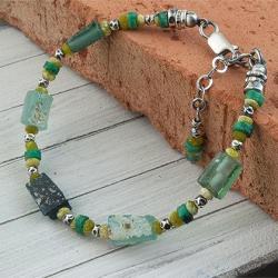 bransoletka ze szkłem antycznym,afgańskim - Bransoletki - Biżuteria