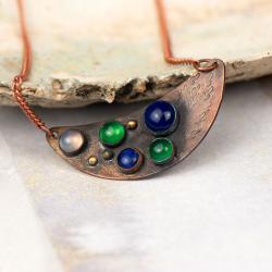 naszyjnik miedż lunula minerały - Naszyjniki - Biżuteria