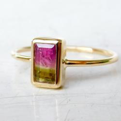 pierścionek,turmalin arbuzowy, - Pierścionki - Biżuteria