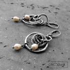 Kolczyki bogate,perły,długie kolczyki,boho,srebrne