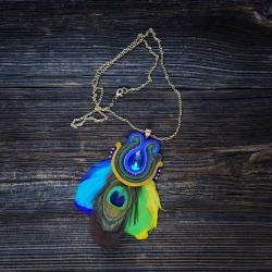pawie pióro,wisior z pawim piórem - Naszyjniki - Biżuteria