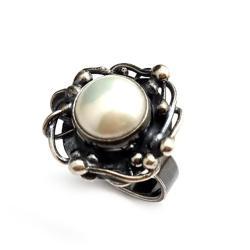 perłowy,kamień,PERŁA,SZARY,SREBRO,romantyczny - Pierścionki - Biżuteria