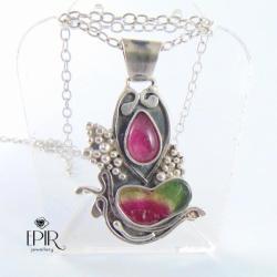 Wisior srebrnyz turmalinami - Wisiory - Biżuteria
