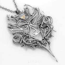 wisior srebrny wilk,ekskluzywny,wire-wrapping - Naszyjniki - Biżuteria