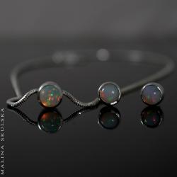 Opal,sztyfty,naszyjnik,minimalistyczny - Komplety - Biżuteria