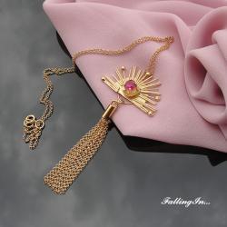wisiorek,słońce,bogini słońca,różowy,złocony - Wisiory - Biżuteria