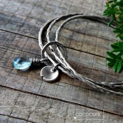 błękitna,srebrna,codzienna,uniwersalna - Bransoletki - Biżuteria