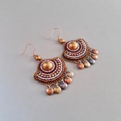 kolczyki wachlarze,haft koralikowy,miedziane - Kolczyki - Biżuteria
