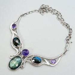 srebrny naszyjnik z labradorytami i ametystami - Naszyjniki - Biżuteria