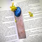 Zakładki do książek miedziana zakładka z grawerem,niebieski kamień