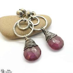 kolczyki,rubin,róż,naturalny,otulony,srebro - Kolczyki - Biżuteria