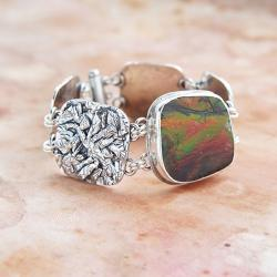 barwna,bransoletka,srebrna,z ammolitem - Bransoletki - Biżuteria