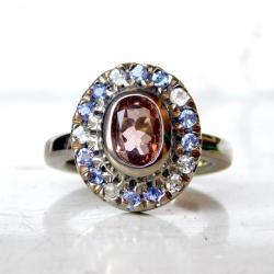 pierścionek z turmalinem różowym tanzanitami - Pierścionki - Biżuteria