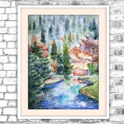 akwarela,jesień,krajobraz,chatka,las - Obrazy - Wyposażenie wnętrz