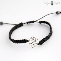 bransoletka,róża,srebrna,czarna,makrama - Bransoletki - Biżuteria