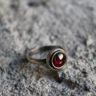 Pierścionki pierścionek srebro granat retro filigran vintage