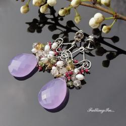 kolczyki,eleganckie,wiosenne,liliowe,kobiece - Kolczyki - Biżuteria