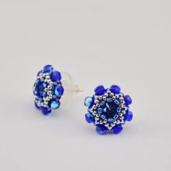 kolczyki kryształ kwiatki chabrowe sztyfty srebro - Kolczyki - Biżuteria