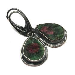 rubin,blask,bordowe,srebrne,zoisyty,minerały,retro - Kolczyki - Biżuteria