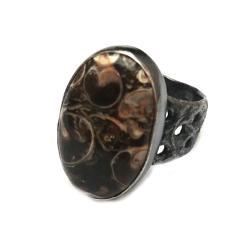 jaspis,turtella,srebrny,szary,oksyda,retro,srebro, - Pierścionki - Biżuteria