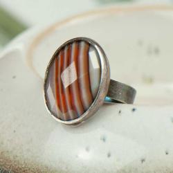 pierścionek srebrny,surowy,agat,boho - Pierścionki - Biżuteria